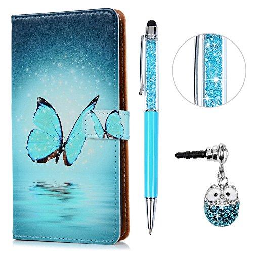 """KASOS Custodia per Asus Zenfone 3 Max ZC553KL 5.5"""" Cover Flip Case Pelle PU Cuoio Morbida Libro Portafoglio Wallet Modello Farfalla"""