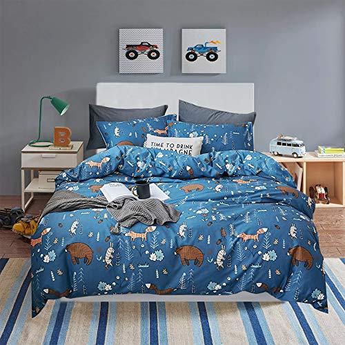 Wellboo Navy Blue Comforter Sets Bear Cartoon Animals Bedding Sets Boys Kids Toddler Woodland Quilt Queen Full Cotton Dark Blue Blanket Children Warm Soft Health Durable Breathable Lightweight