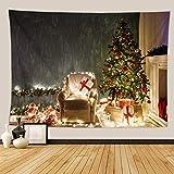 KHKJ Tapiz de Pared de árbol psicodélico Tapiz de Chimenea decoración de Navidad Manta de Pared de Cocina Manta Alfombra A9 150x130cm