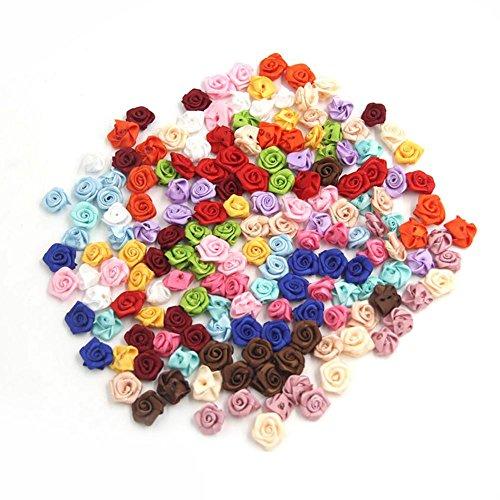REFURBISHHOUSE 100pzs / Lote Mini rosetones de Cinta de Rasa de Saten Hechos a Mano Flor de Tela Apliques para la Decoracion de la Boda Accesorios de Costura de artesania