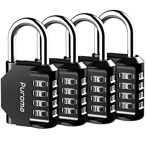 Puroma 4 Pack Combination Lock 4 Digit Padlock for School Gym Locker, Sports Locker, Fence, Toolbox, Case, Hasp Storage (Black)