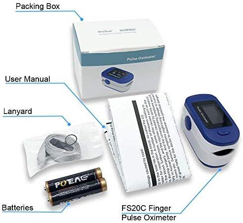 Pulsioximetro Easy Health Oximetro de Dedo y de Pulso Profesional FS20C para Adultos y Niños con Monitor de Oxígeno y Saturación en la Sangre Oximeter