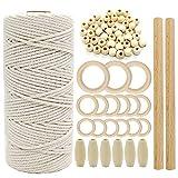Juego de macramé, cordón de macramé natural, 3 mm, 50 piezas de cuentas de madera, 15 piezas de anillos de...