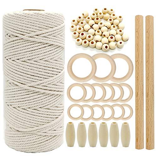 Suolong Makramee-Set, natürliche Makramee-Schnur, 3 mm, 50 Stück Holzperlen, 15 Stück Holzringe, 2 Stück Holzstäbchen, für Wandbehang, Bastelarbeiten, DIY, 100 m lang