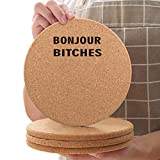Cork Coasters for Soup Bowls-8 pcs Wooden Set Round 6.3 inch with-Thick Funny Pattern Absorbent Heat Resistant Reusable Saucers for Cold Drinks Wine Glasses Plants Cups Mugs-Bonjour Bitches