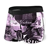 Amesage Fashion Urban Girl in Sketch Style Men's Underwear, Flat-Angle Underwear, Breathable Boxer Belt with Exposed Waistband