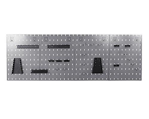 Ondis24 große Werkzeugwand 162 x 57 cm Lochwand mit 22 -TLG.Hakensortiment grau