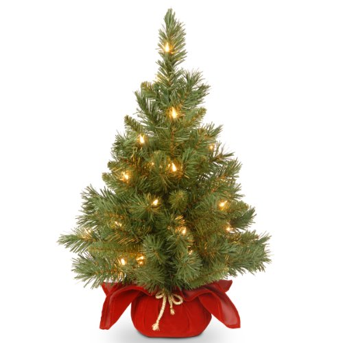 National Tree Company Pre-lit Artificial Mini Christmas Tree | Includes Small Lights and Cloth Bag Base | Majestic Fir - 2 ft