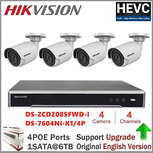 Hikvision CCTV-systeem H.265 NVR Embedded Plug & Play 4K NVR + Hikvision 8MP IP Camera DS-2CD2085FWD-I netwerk Bullet Camera + Seagate HDD