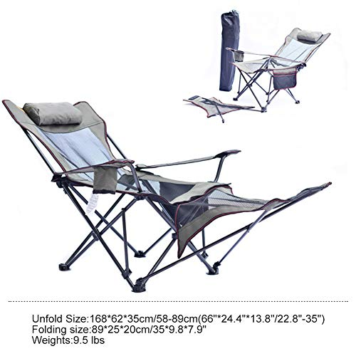 Luckylj klapstoel, 3 posities, met afneembare voetensteun, draagbaar, opvouwbaar, voor camping buitenshuis, met bekerhouder en zijvak, 2LMeshBrown