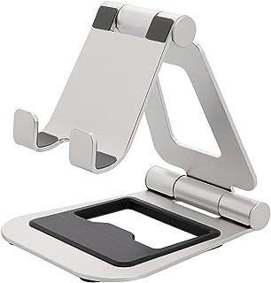 MOTTERU (モッテル) スマホ タブレット Android iPhone iPad Nintendo Switch 対応 充電しながら 角度調整 安定感 ワイドアルミスタンド 折りたたみ可能 日本メーカー シルバー MOT-SPSTD08-SV