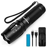 Led Torch, BINWO High Power Rechargeable Torches Super Bright 2500 Lumen, 5 Modes Zoomable Waterproof Tactical Flashlight with 18650 Battery & USB Charger for Outdoor Sports, Warranty for 2 Years