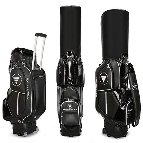 Tragbarer High-End-Einkaufswagen mit Rädern Golftasche, Leichte wasserdichte Leder Golf Air Travel Reisetasche Sunday Trolley Bag, Golfschlägertaschen für Männer und Frauen Wagentaschen