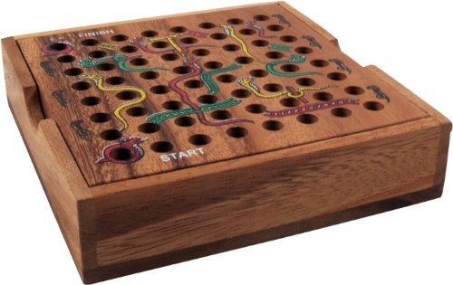 Guru-Shop Bordspel, Houten Gezelschapsspel - Slang op de Ladder, Bruin, 3x13x13 cm, Bordspellen Behendigheidsspellen