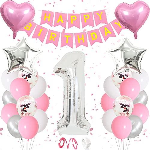 TOLOYE Decoración de Cumpleaños 1 en Rosado,Globos de Cumpleaños 1 año Niña,Rosado Pancarta de Cumpleaños Globos de Látex de Confeti Numero 1 Cumpleaños Globos para Fiesta de cumpleaños