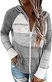 GRMLRPT Sudaderas con Capucha para Mujer Manga Larga Punto Suéter Chaqueta Talla Grande Cárdigan Hoodie Suelto Cordón Rayas Sweatshirt Cuello en V Blusa