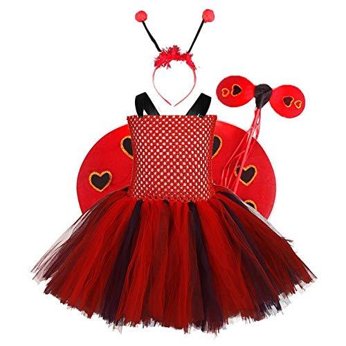 NINGYE Disfraz de Mariquita para niñas, Disfraz de Cosplay con alas y Diadema para Disfraz de Halloween, poliéster, Rojo, Small