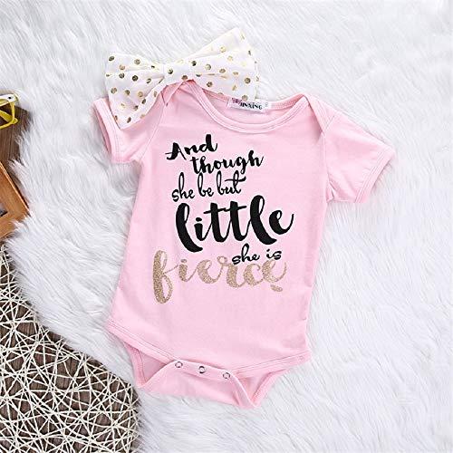 Rosa Body mit Schleife für Baby ab 6 bis 12 Monat, Neugeborenen Babys Kleidung Kurzarm Spielanzugoverall Outfits Babykleidung