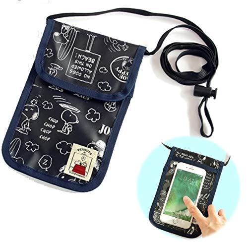バンガード パスポートケース 旅行用 首さげ ネックホルダー 透明 スマホ 対応 ポケット付き ネイビー (かわいい キャラクター スヌーピー ドッグハウス シリーズ)