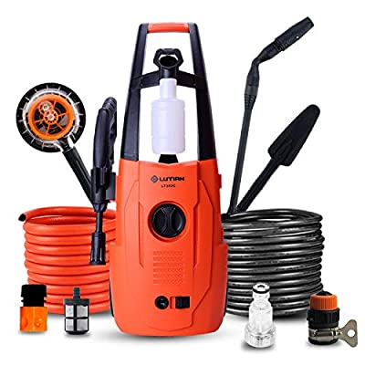 QXMEI Portable Electric High Pressure Cleaner Waterproofing System 3-in-1 Nozzle High Pressure Washer 1400W-80 Bar 5.5L/min Flow 2 Ways To Connect Water Sources Home Pressure Washer,Orange-Group4 from QXMEI