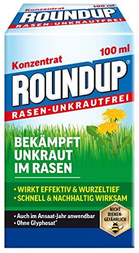 Roundup Rasen-Unkrautfrei Konzentrat, Spezial-Unkrautvernichter zur Bekämpfung von Unkräutern im Rasen mit sehr guter Rasenverträglichkeit, 100 ml für 66 m²