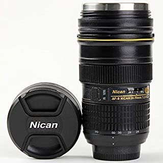 Camera Lens Coffee Mug Gift With Lid,Photo Coffee Mugs Stainless Steel Travel Lens Cup Thermos TMANGO (Nikon 24-70mm)