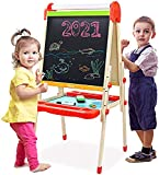 Joyooss Kids Wooden Art Easel with Paper Roll -Double Sided Whiteboard & Chalkboard Children Easel -Adjustable Height Magnetic Dry Easel Drawing Easel Board with Bonus Kids Art Supplies for Boys Girls