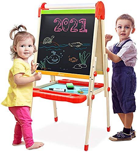 Joyooss Kids Wooden Art Easel with Paper Roll -Double Sided Whiteboard & Chalkboard Children Easel -Adjustable Height Magnetic Dry Easel Drawing Easel Board with Bonus Kids Art Supplies for Boys Girls