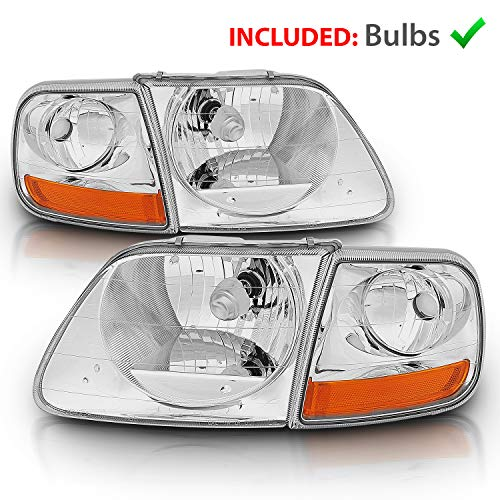 AmeriLite Replacement Crystal Headlights with Corner Parking Set for Ford F150 F-150 Harley Lighting - Driver and Passenger