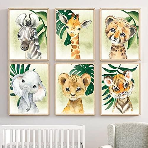 wurenhui 6 Affiches Animaux de la Foret Bebe Enfant a4 Poster Elephant Lion Girafe Zèbre Tigre Tableaux Chambre Decoration sans Cadres