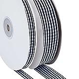 Gmasuber 2 rollos de cinta a cuadros blanco y negro cinta de arpillera de Navidad Cinta de tela escocesa con alambre para coronas de Navidad, manualidades, decoración de vacaciones