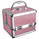 iGadgitz <span class='highlight'><span class='highlight'>Home</span></span> U7036 - Aluminium Make Up Case, Cosmetic Case, Hard Vanity Case, Make Up Box, Beauty Case - 4 x Fold Out Trays, Larger Bottom Compartment & Carry Handle - Pink - Small