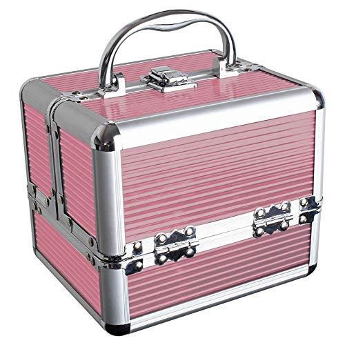 iGadgitz Home U7036 Mini Aluminium Kosmetikkoffer, Schminkkoffer, Beautycase, Makeupbox - Rosa - Klein