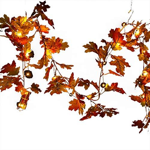 FunPa LED Ahornblätter Lichterkette, 30 LED Herbstgirlande Herbst Dekoration Blättergirlande Herbst Ahornblatt Deko für Herbst Hochzeiten Halloween Thanksgiving und Außen Zuhause Herbstparty