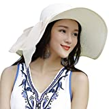 Lanzom Womens Big Bowknot Straw Hat Floppy Foldable Roll up Beach Cap Sun Hat UPF 50+ (Ivory White)