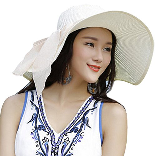 Lanzom Womens 5.5 Inches Big Bowknot Straw Hat Large Floppy Foldable Roll up Beach Cap Sun Hat UPF 50+ (Ivory White)