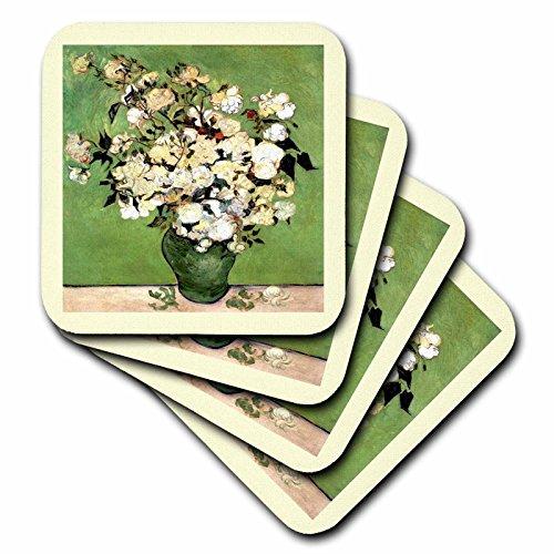 3dRose CST_47910_1 Green N Elfenbein Gerahmte Van Goghs Vase mit Rosen Malerei, weiche Untersetzer, 4er-Set