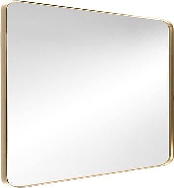 Tokeshimi Espejo de pared de 60,9 x 81,2 cm para baño con marco de metal dorado, decorativo, rectangular, montado en la pared
