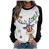 Btruely Sudaderas Mujer Deporte Otoño Invierno Navidad Lindo Patrón Largas Fitness Original Sexy Cuello Redondo Deporte Casual Top Shirt Blusas (Negro, M)