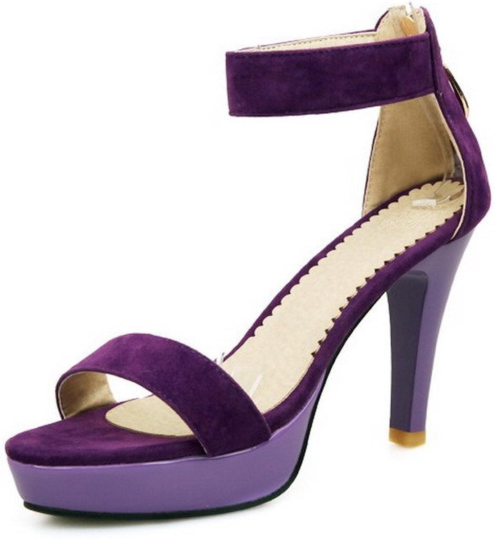 WeenFashion Women's Zipper Open Toe High Heels Solid Imitated Suede Sandals