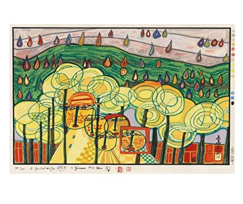 QINGRENJIE Leinwanddruck Ölgemälde Künstler Hundertwasser Abstrakte Malerei Kunst Moderne Wandkunst Bild Home Decor 50 * 75 cm Ohne Rahmen