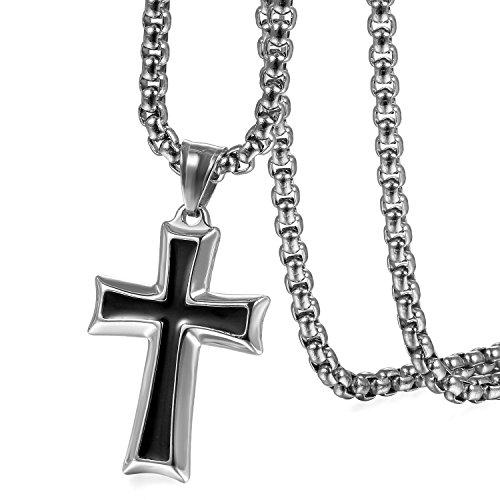collana uomo uomo OIDEA Collana Catena Uomo Acciaio Inossidabile con Pendente Croce Nero