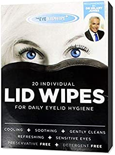 All Natural Saline Eyelid Wipes. Perfect Makeup Remover and Eyelid Cleanser for People with Sensitive Eyes, who Suffer from Dry, Irritated Eyes, Also Helps Maintain Good Ocular Hygiene. 5 Box of 20