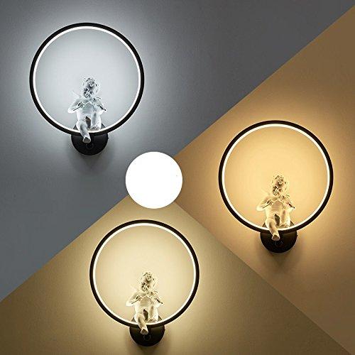 Creative Led moderne minimaliste mur de chevet chambre à coucher Lampe lumière lampe escalier Couloir Couloir Art,Black 35 * 30cm,19 Watts cartouche 3 couleurs gradateur de lumière