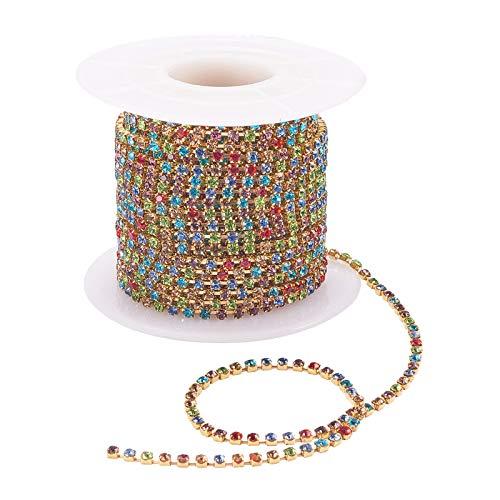 Almencla Rhinestones Chain 10 Yards 2.0mm Sew on Rhinestones Cup Chain with Gold Bottom Sew on Trim