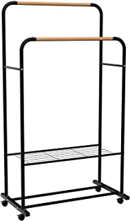 YOUDENOVA Clothes Rail on Wheels Clothes Rack Double Hanging Rails for Clothes Rails for Bedroom Heavy Duty Metal Stand St...