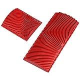 2 Unids 6 Pulgadas/3 Pulgadas de Grano de Madera Cepillo de Goma de Pared Herramientas de Pintura Grano de Madera Diseños DIY Herramienta de Decoración[Rojo]