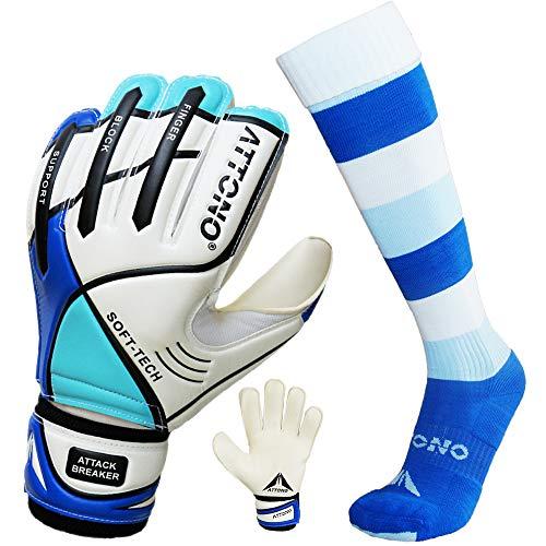 ATTONO Torwarthandschuhe Attack Breaker V01 Fingersave Torwart Handschuhe (3-11) im Set mit Stutzen