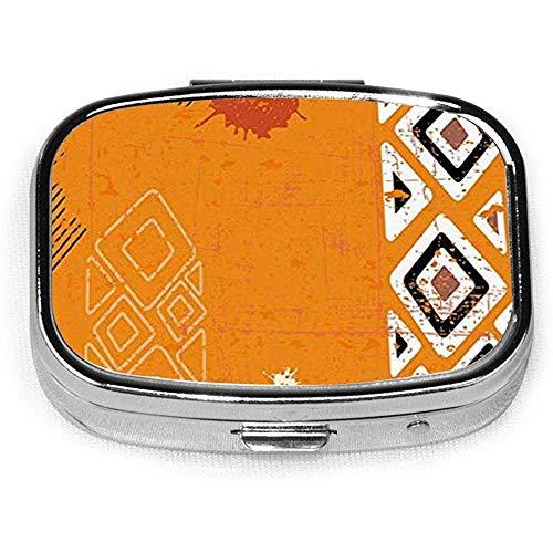 Tribal kussensloop Etnisch Afrikaans ontwerp met gedurfde lijnen CustomSquare Pill Box Tablet Houder Pocket e Organizer CaseBox