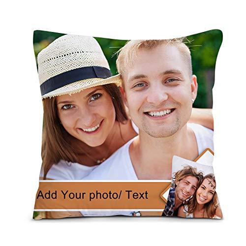 Personalisiertes Kissen, Fotokissen/Kissenbezug, Kissen mit Deinem Foto & Text für Geburtstag, Vatertag, Muttertag, Geburtstag etc (Weiß, 45 x 45 cm)